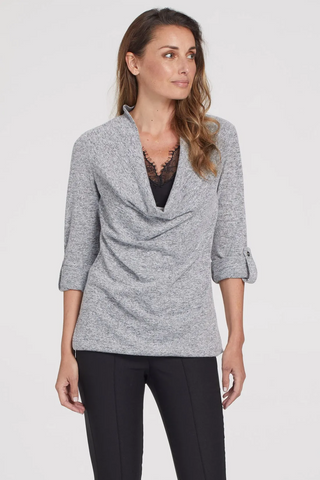 Tribal Long Sleeve Cowl Neck Fooler Cami Sweater - Grey Mix