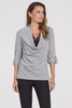 Image of Tribal Long Sleeve Cowl Neck Fooler Cami Sweater - Grey Mix
