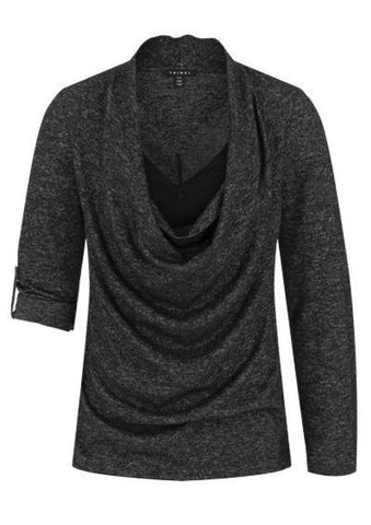 Tribal Long Sleeve Cowl Neck Fooler Cami Sweater - Black