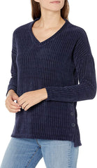 Tribal V-Neck Chenille Side Button Detail Sweater - Dark Marine
