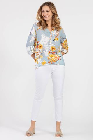 Tribal Floral Print Roll-Up Sleeve Blouse - Blue/Multi