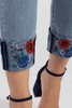 Image of Tribal Embroidered Cuff Skinny Jean - Denim