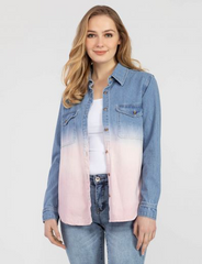 Tribal Ombre Denim Shirt - Multicolor