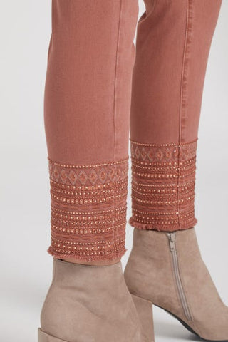 Tribal Embellished Pull-On Ankle Jegging - Auburn