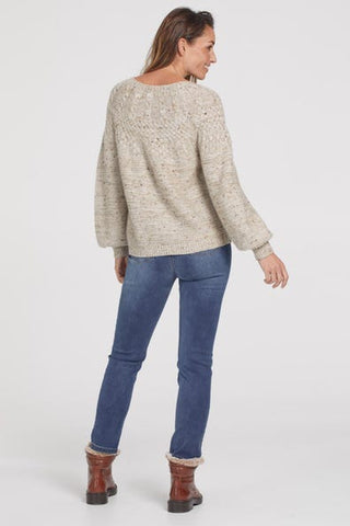 Tribal Crew Neck Cable Sweater - Birch