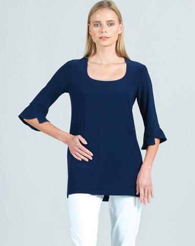 Clara Sunwoo Tulip Sleeve Scoop Neck Top - Navy