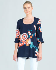 Clara Sunwoo Tulip Sleeve Scoop Neck Top - Navy/Floral Print