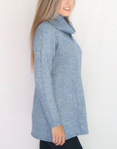 Metric Knits Cowl Neck Overlay Sweater Tunic - Smoke Blue