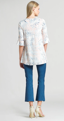 Clara Sunwoo Tropical Print V-Neck Tulip Sleeve Tunic - Blush