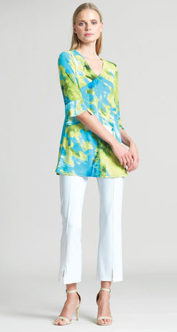 Clara Sunwoo Watercolor Print V-Neck Tulip Sleeve Tunic - Lime/Multi