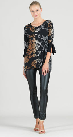 Clara Sunwoo Damask Print Tie Cuff Side Vent Tunic - Black/Charcoal/Copper