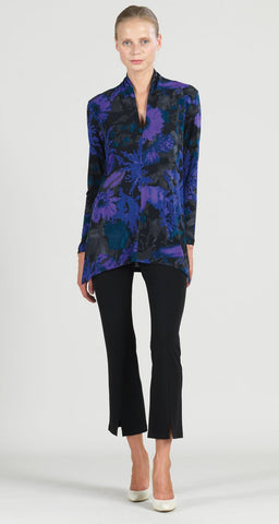 Clara Sunwoo Mosaic Print V-Neck Tunic - Black/Purple/Multicolor