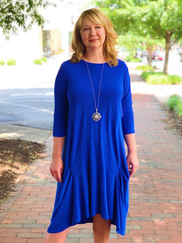 Sympli Tuck Dress 3/4 Sleeve - Lapis