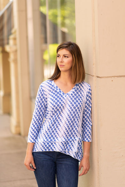 Tango Mango Layered Front Crinkle Knit Dot Top - Blue/White