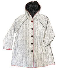 UbU Reversible Hooded Pleated Jacquard Raincoat - Black/Ivory - Sugg. $300.00