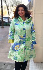 UbU Reversible Accordion Anorak Hooded Floral Print Rain Jacket - Green/Blue