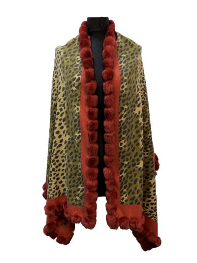 Rex Fur Trim Wrap - Red