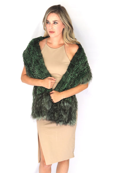 Knitted Chinchilla & Fox Fur Shawl Scarf with Pockets - Green