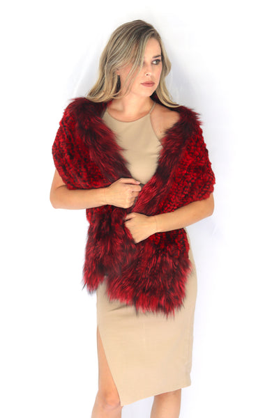 Knitted Chinchilla & Fox Fur Scarf with Pockets - Red