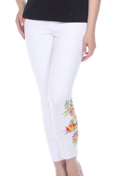 AZI Molly Embroidery/Beading Detail Jean - White