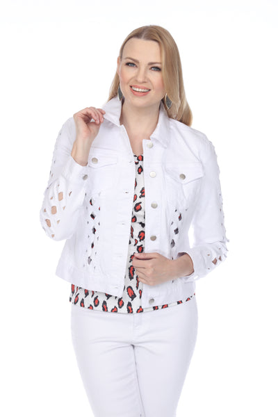 AZI Tia Lattice Detail Jean Jacket - White