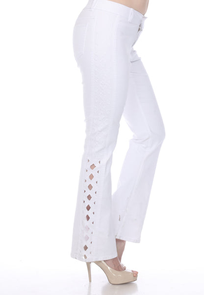 AZI Grace Lattice Trim Bell Bottom Jean - White