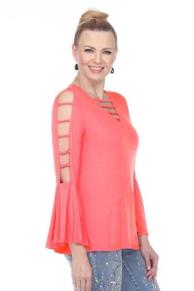 AZI Arabella Lattice Sleeve Top - Coral