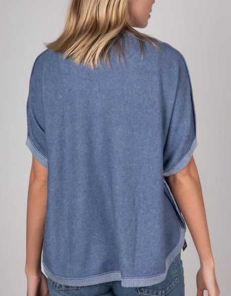Zaket & Plover Reversible Short Sleeve Cotton/Cashmere Top - Chambray