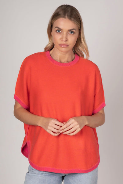 Zaket & Plover Reversible Short Sleeve Cotton/Cashmere Top - Flame