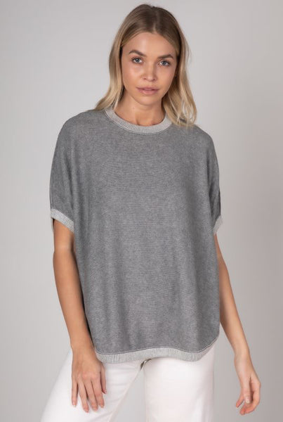 Zaket & Plover Reversible Short Sleeve Cotton/Cashmere Top - Marl