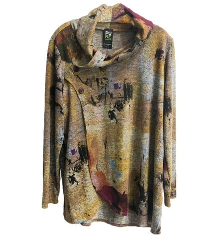 Pure Essence Button Collar Abstract Print Wrap Tunic - Multicolor