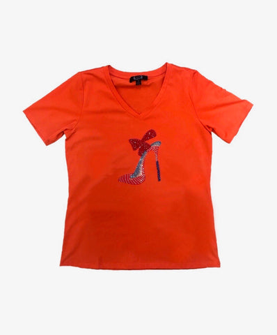AZI Short Sleeve V-Neck Rhinestone Shoe Tee - Orange