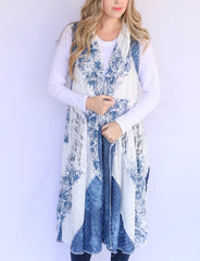 Adore Apparel Mixed Media Long Vest - Blue/White