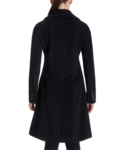 Anne Klein Cashmere Blend Single Breasted Walker Coat - Black - Sugg. $320.00
