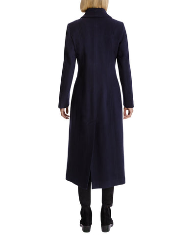 Anne Klein Cashmere Blend Single Breasted Maxi Coat - Navy - Sugg. $350.00