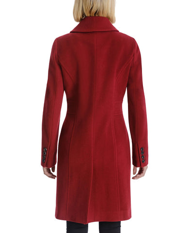 Anne Klein Cashmere Blend Club Collar Walker Coat - Red - Sugg. $320.00