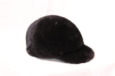 Mink Fur Baseball Hat - Black