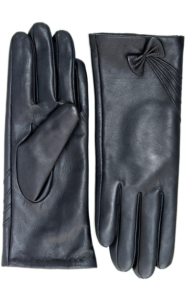 Leather Gloves with Bow Detail - Black