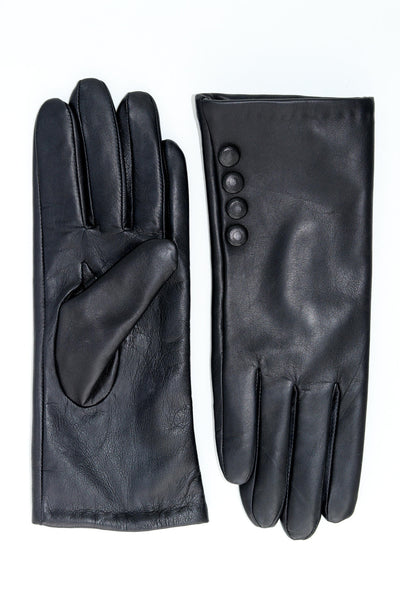 Leather Gloves with Button Detail - Black