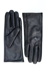Leather Gloves with Stitching Detail - Black