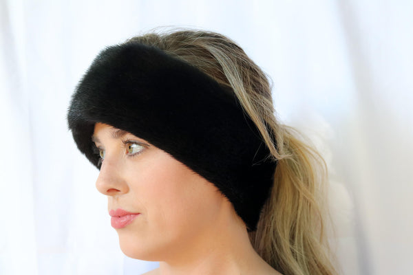 Mink Fur Headband - Black Compare At: $300