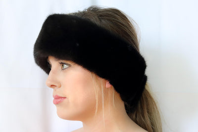 Mink Fur Headband - Black