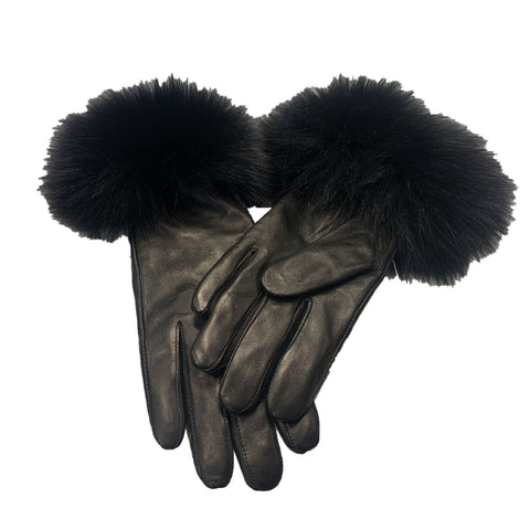Rippe's Furs Leather Gloves with Fox Fur Trim - Black - Appr. $250.00