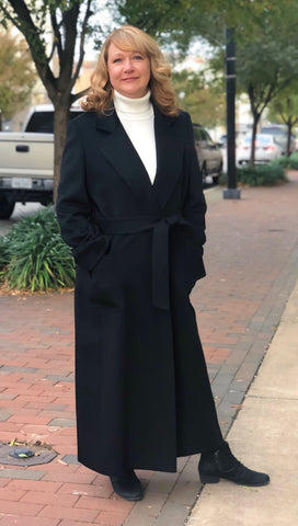 Cashmere Blend Belted Wrap Coat - Black