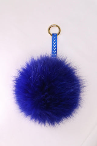 Fox Fur Pom Pom Keychain - Blue