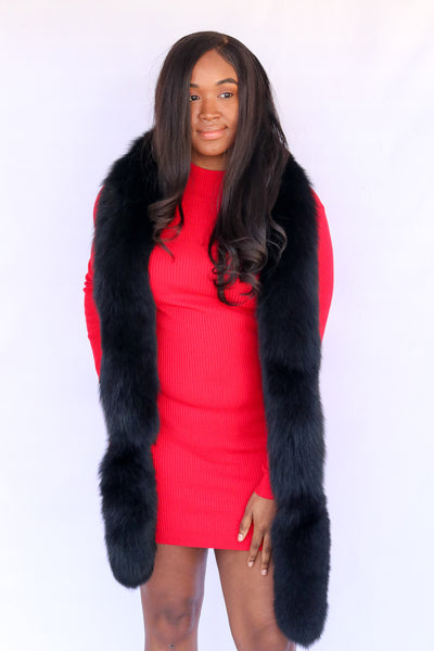 Fox Fur Boa - Black