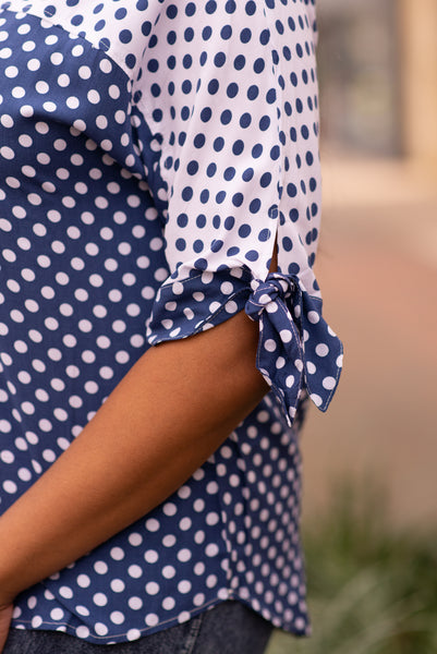 Boho Chic Tie Sleeve Button Back Polka Dot Top - Blue/White