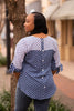 Image of Boho Chic Tie Sleeve Button Back Polka Dot Top - Blue/White