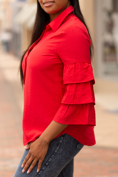 Boho Chic Tiered Bell Sleeve Top - Red