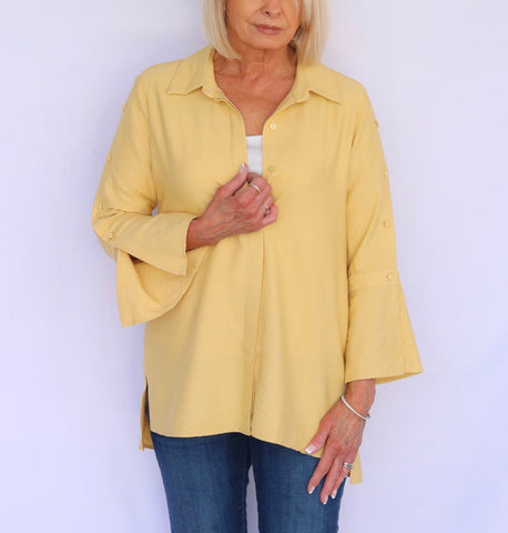 Boho Chic Bell Sleeve Blouse - Buttercup Yellow